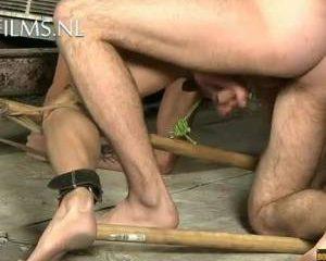 Slaaf wordt anaal geneukt met dildo